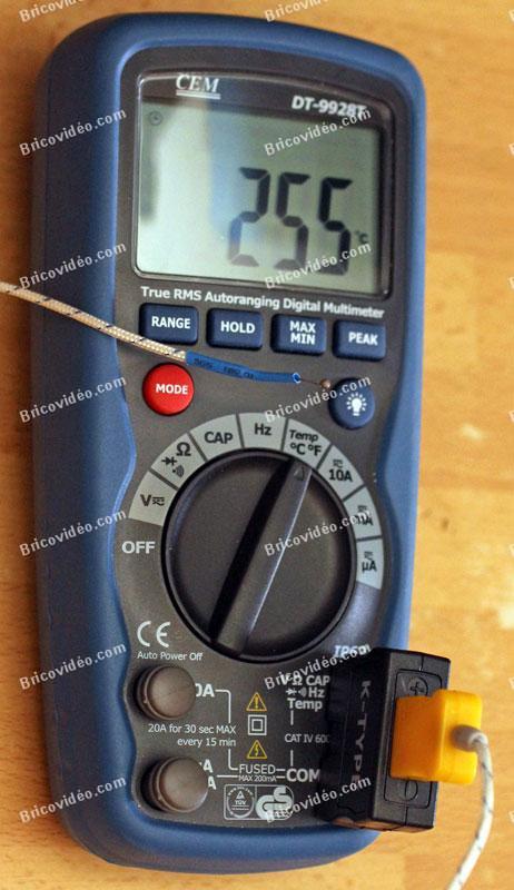 multimètre mesure de température