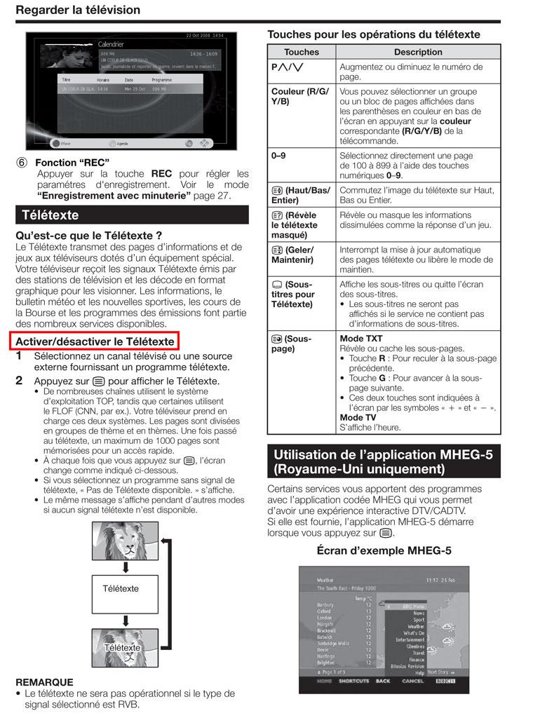 supprimer le télétexte TV Sharp LC 24LE210E
